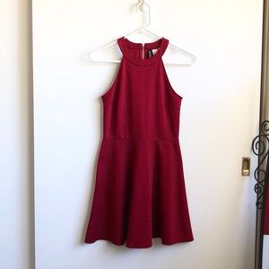 Divided Red/Burgundy High Neck Skater Dress